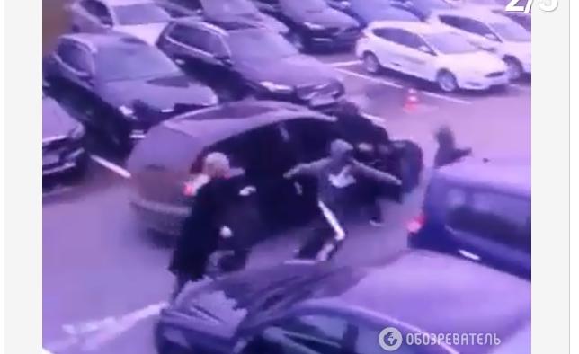 Появилось видео дерзкого разбоя в Киеве