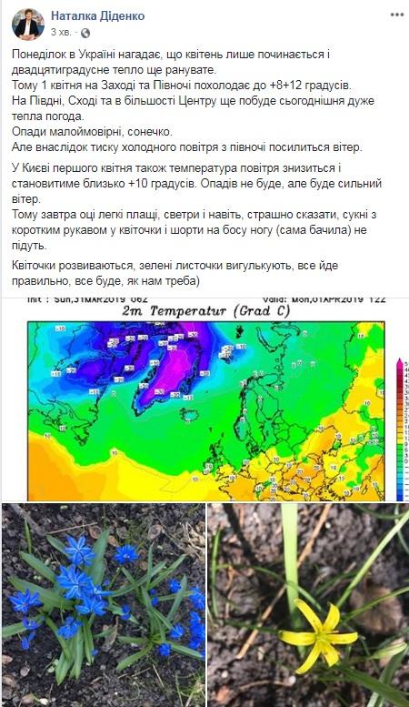 Синоптик предупредила о смене погоды в Украине
