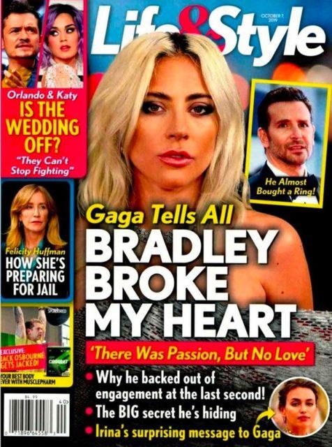 Леди Гага заявила, что Брэдли Купер разбил ей сердце