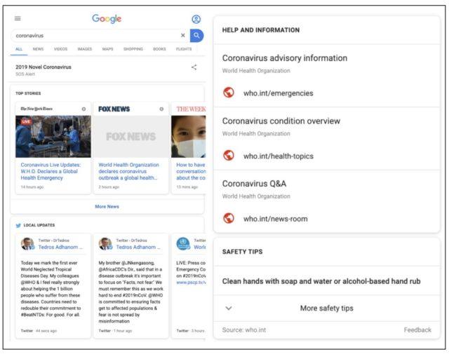 Google запустил сервис по информированию о коронавирусе