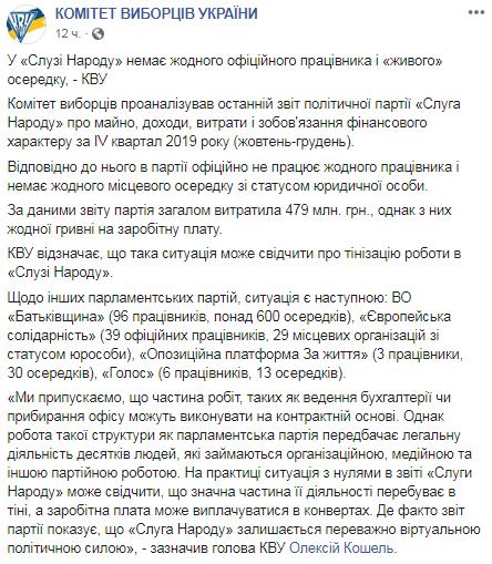 В «Слуге народа» нет официальных сотрудников и «живых» ячеек, — КИУ